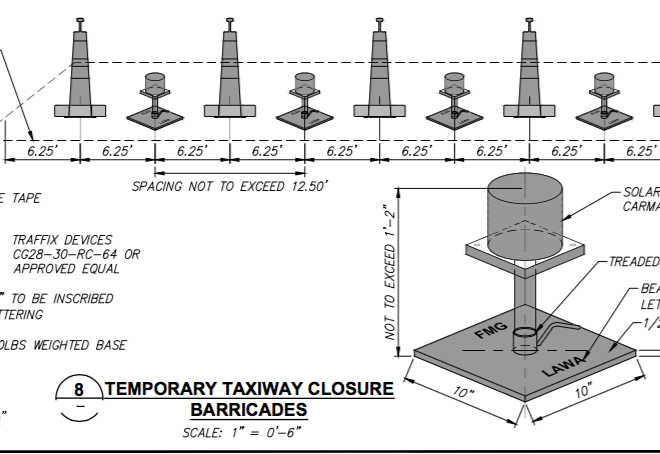 temporary taxiway closure barricades